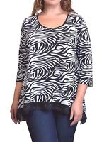 NEW WOMEN Plus 2X 3X, Abstract Zebra Sharkbite 3/4 Sleeves Top WHITE &BLACK