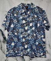 EMERGENCY EXIT Mens' Blue Beige Black Floral Short Sleeve Shirt XL 100% Cotton