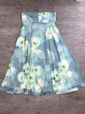 Ladies ASOS Green & Lemon Floral Strapless Dress Size 14