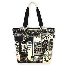 Laurel Burch Wild Cat #LB5801 Canvas Shoulder Tote Bag Purse Black & White NEW