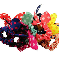 12Pcs/Lot Mix Cute Clips For Hair Band Polka Dot Trip Hair Rope Rabbit Scrunchy