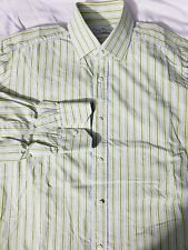 Truzzi Milano pale green blue stripe dress shirt 16 1/2 BEAUTIFUL