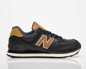 New Balance 574 Men's Black Brown Low Casual Athletic Lifestyle Sneakers Shoes