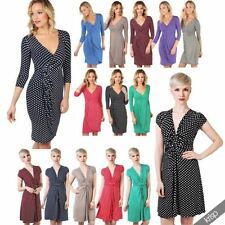 Viscose V-Neck Party Spotted Dresses for Women