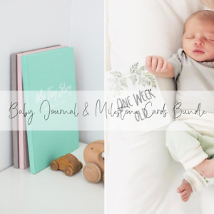 Baby Shower Gift Bundle for New Mum, Baby Memory Book and Milestone Cards