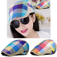 Men Colorful Grids Plaid Peaked Beret Hat Newsboy Driving Cabbie Flat Cap Cotton