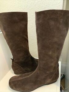 Boden Dark Brown Mid Calf Suede Boots Size 40/7 ( 149BB)