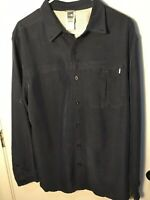 The North Face Men's Button Down Shirt Modal Polyester Size Large L Navy Blue