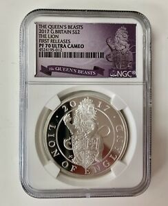 2017 NGC Pf 70 Great Britain Lion Of England Queens Beast Ultra Cameo