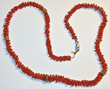 "FABULOUS Antique/Vintage 22"" RED CORAL and GOLD on STERLING SILVER NECKLACE! NR!"