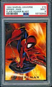 1994 Marvel Universe SPIDER-MAN #15 Flair Power Blast PSA 9 Mint ~ PSA POPSHIPR