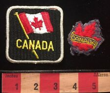 Lot Of 2 ~ Canada Travel Patch w/ Flag & Canadian Maple Leaf 67A