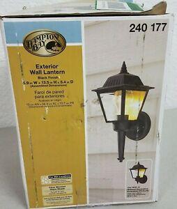 Hampton Bay 1-Light Black Outdoor Wall Mount Lantern, Black