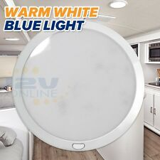 "RV 12V 8.5"" LED Panel Ceiling Light Switched Trailer Boat Down Light Warm W/Blue"