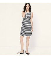 NWT Ann Taylor Loft Mitered Stripe Keyhole Dress Color Crispy Navy Size XSP