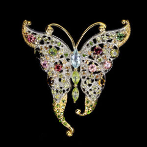 Unheated Marquise Aquamarine Peridot Gems 925 Sterling Silver Butterfly Brooch