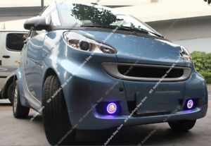 For Smart Fortwo 2008-2012 DRL Fog Light + Lens COB Angel Eye Bumper Cover kit