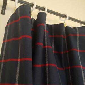 "Custom WOOL Heavy Tartan Plaid Navy Blue White Red Drapes Curtain 101""W x 115""L"