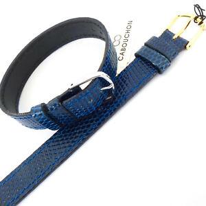 14mm 1 PIECE CABOUCHON WATCH STRAP. NAVY BLUE LIZARD GRAIN LEATHER GOLD /SILVER