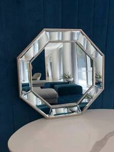 Silver Beaded Hexagonal Hex Wall Mirror 78cm Hamptons Contemporary Modern Luxury