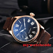 44mm parnis black dial golden plated hand winding 6497 mechanical mens watch 795