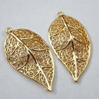 20X Golden Color Pendant Charms Alloy Hollowed Leaf  Jewelry Findings 39731