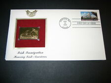1999 Irish Immigration 22kt Gold Golden Replica FDC FDI Stamp Cover