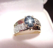 MEDIUM DARK BLUE GENUINE STAR SAPPHIRE 1.38 CTS with DIAMONDS 14K GOLD RING