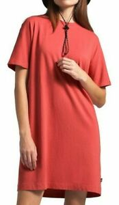 NEW Women's The North Face Woodside Hemp Tee Dress Sunbaked Red Size M