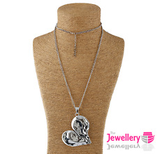Large hammer effect metal side heart pendant and long curb chain necklace silver