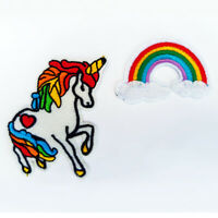 Unicorn Rainbow Sew Iron On Patch Badge Bag Biker Embroidered Applique Craft DIY