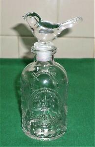 GLASS BOTTLE WITH GLASS BIRD STOPPER~OIL~VINEGAR ??~~VINTAGE ??~ 17 cm tall