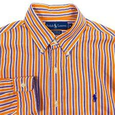 RALPH LAUREN Custom Fit Orange Striped Long Sleeve Button Up Shirt Mens Medium M