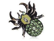 Bronze Brass Tone Peridot Green Crystal Body Spider Insect Bug Rhinestone Ring