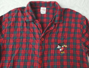 Mickey Mouse on Ice Skates Red Plaid Flannel Night Shirt - Large Mens Disney
