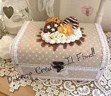 Scatola Portagioie - Shabby chic - handmade - Con panna, cioccolata, donut, pan