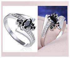 Bague en plaqué or blanc, diamant CZ noir, cristal transparent, joaillerie neuf