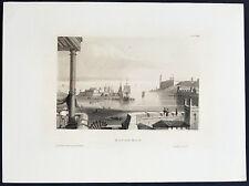 1855 Herrmann Meyer Antique Print of Havana Harbor & Fort La Cabana Cuba - 33732