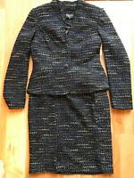 $214 New Serrani Italy 2pc Suit Set Jacket Blazer Skirt Women Blue Black Sz  4 8