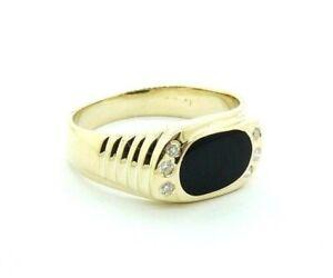 14k Yellow Gold Men's Black Onyx and Diamond Ring Vintage Pinky #20661B