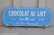Vintage Wooden Chocolat Au Lait Plaque w Hooks Key Holder Wall Hanging Decor