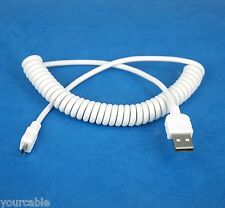 Coiled Micro USB Cable WHITE 4 Samsung Galaxy Note 8.0 LTE 3G N5120 N5110 N5100