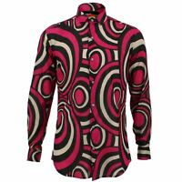 Mens Shirt Loud Originals TAILORED FIT Circles Pink Retro Psychedelic Fancy