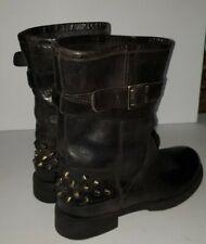 BOEMOS dark Brown Leather Midcalf Studded strappy Biker Boots 6 NORDSTROM