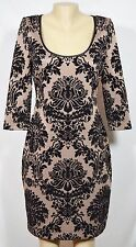 AIDAN MATTOX Brown Black Velvet Brocade Dress 10 Partial Open Back 3/4 Sleeves