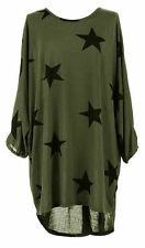 Italian Lagenlook Plus Size Ladies Baggy Sleeves Stars Print Tunic Top Shirt