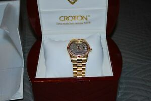 Croton 18K Solid Yellow Gold Swiss Automictic Men's Nice