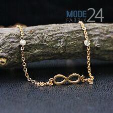 Damen Edelstahl Halskette Collier Infinity Unendlich Zikonia Gold