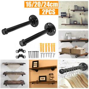 2x DIY Pipe Shelf 16/20/24cmBlack Wall Iron Pipe Shelf Bracket Mount Holder