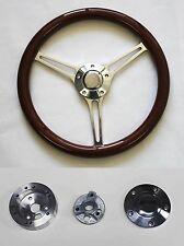 "69-93 Oldsmobile Cutlass 442 14 3/4"" Mahogany Wood on Billet Steering Wheel"